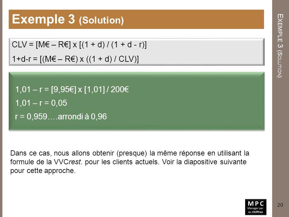 Exemple 3 (Solution) CLV = [M€ – R€] x [(1 + d) / (1 + d - r)]